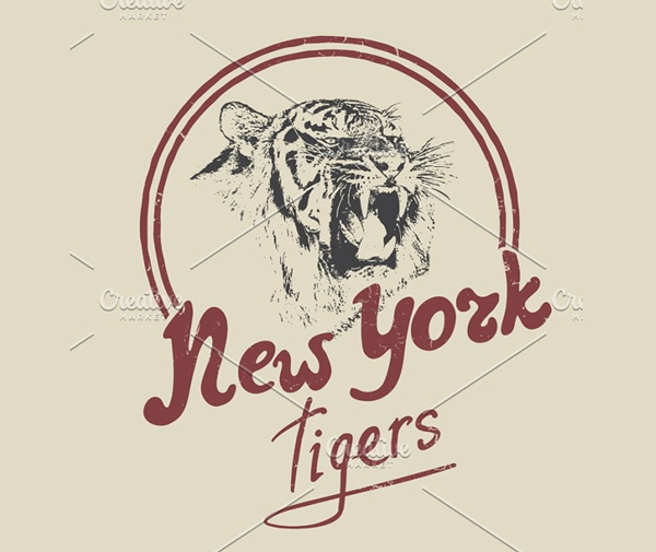 New York Tiger Retro Logo