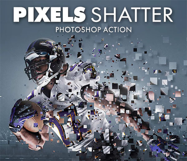 Pixels Shatter ABR, ATN Photoshop Action