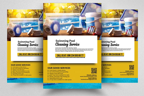 Pool Cleaning Service Flyer Template