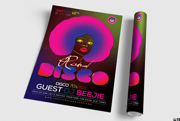 Printable Disco Revival Flyer Template