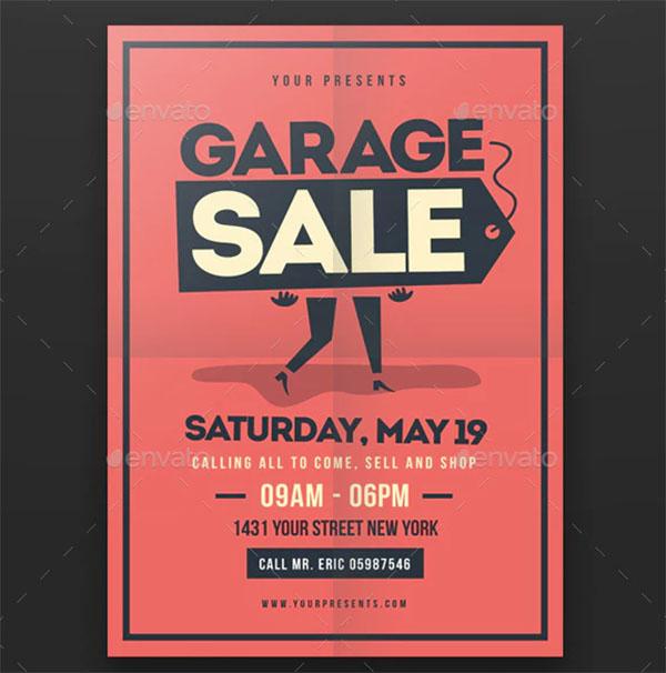 Retro Garage Sale PSD Flyer