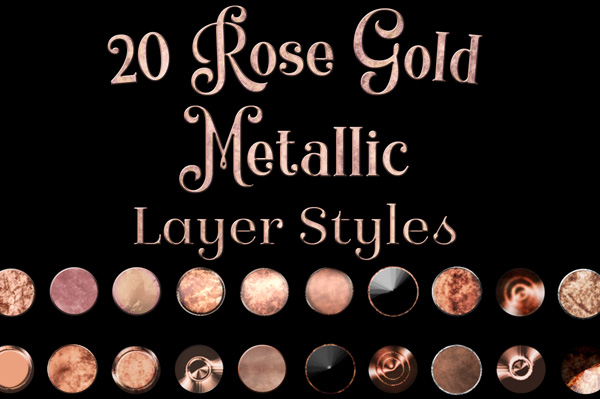 Rose Gold Metallic Layer Styles for Photoshop