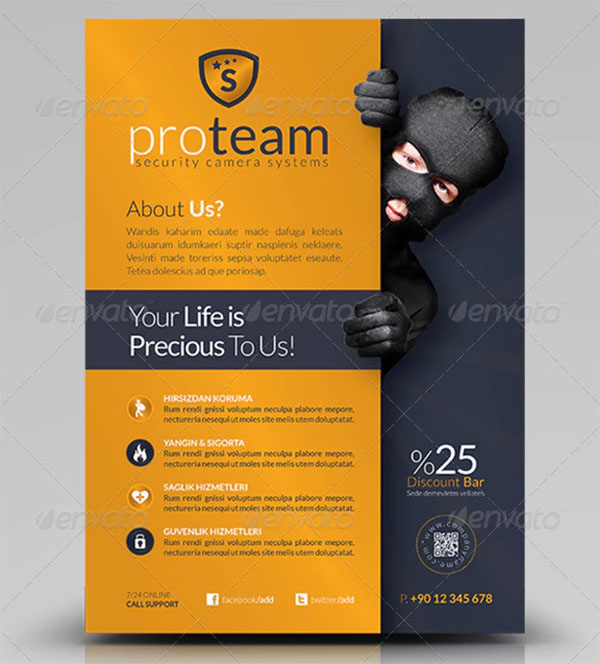 Security Systems Flyer PSD Template