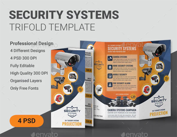 Security Trifold Brochure Template