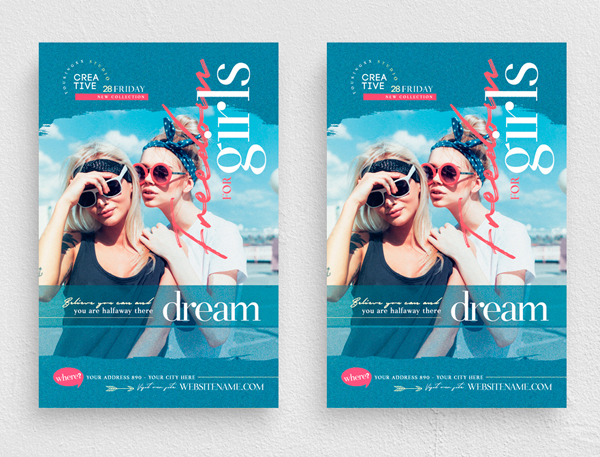 Simple Freedom For Girls Flyer Templates