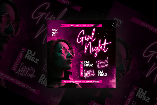 Simple Girl Night Party Flyer