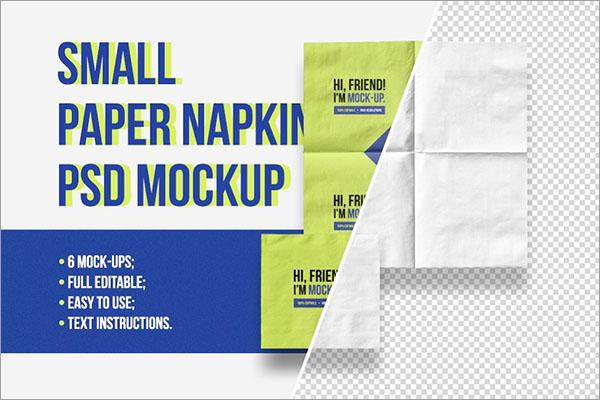 Small Paper Napkin PSD Mockup