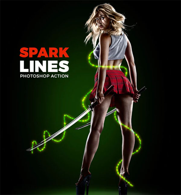 Spark Lines Photoshop Action