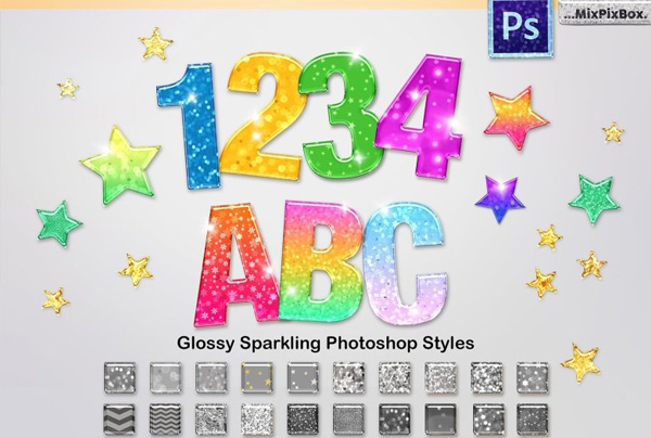Sparkling Glossy Layer Styles for Photoshop