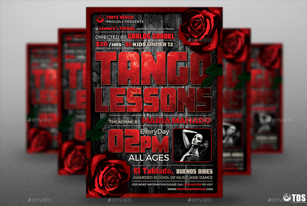 Tango Lessons Flyer Template