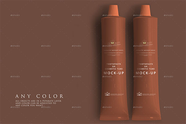 Toothpaste or Cosmetic PSD Tube Mockup