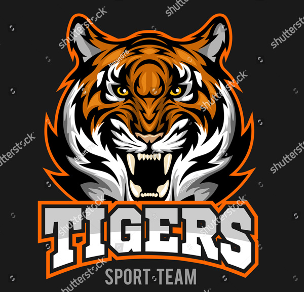Vector Angry Tiger Face Sport Template