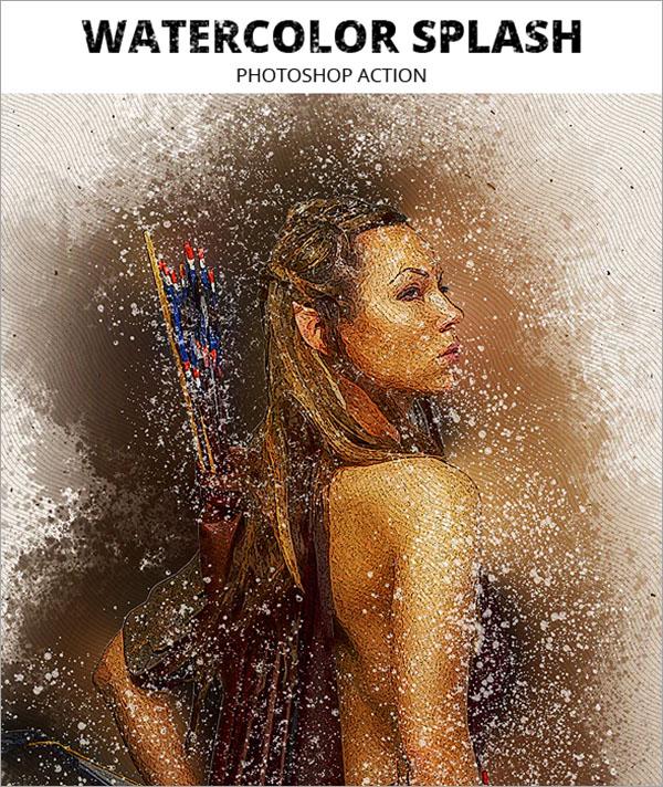 Watercolor Splash Photoshop ABR Action