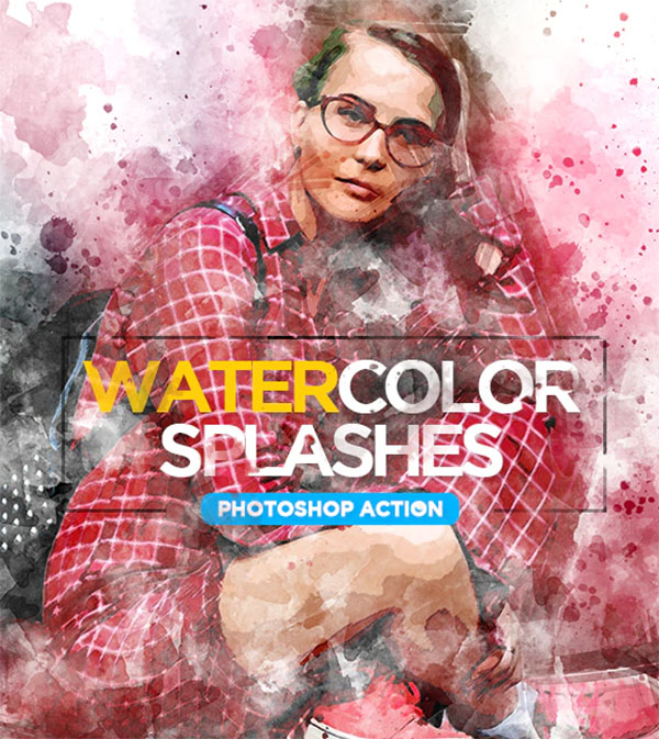 Watercolor Splashes Photoshop Action