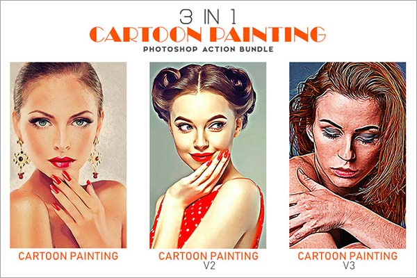 3 IN 1 Cartoon Painting Photoshop Action Bundle