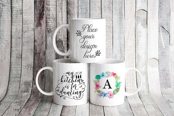 3 Mugs Coffee Mug Mockup