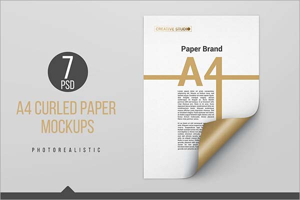 A4 Curled Paper Mockup