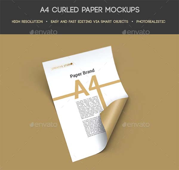 A4 Curled Paper PSD Mockups