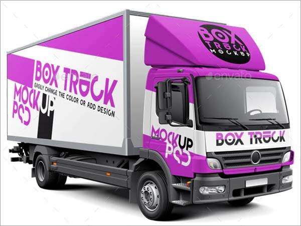Box PSD Truck Mockup