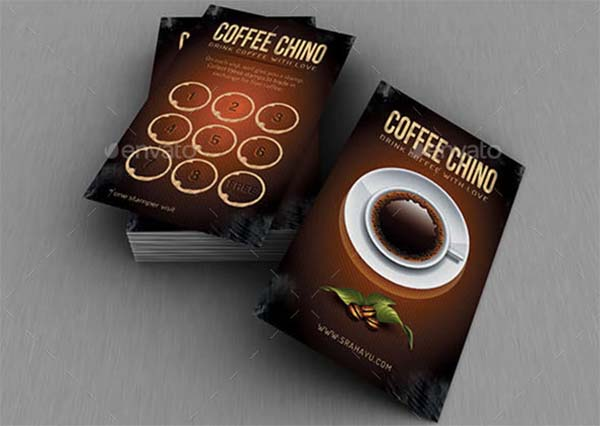 Brown Coffee Loyalty Card Template