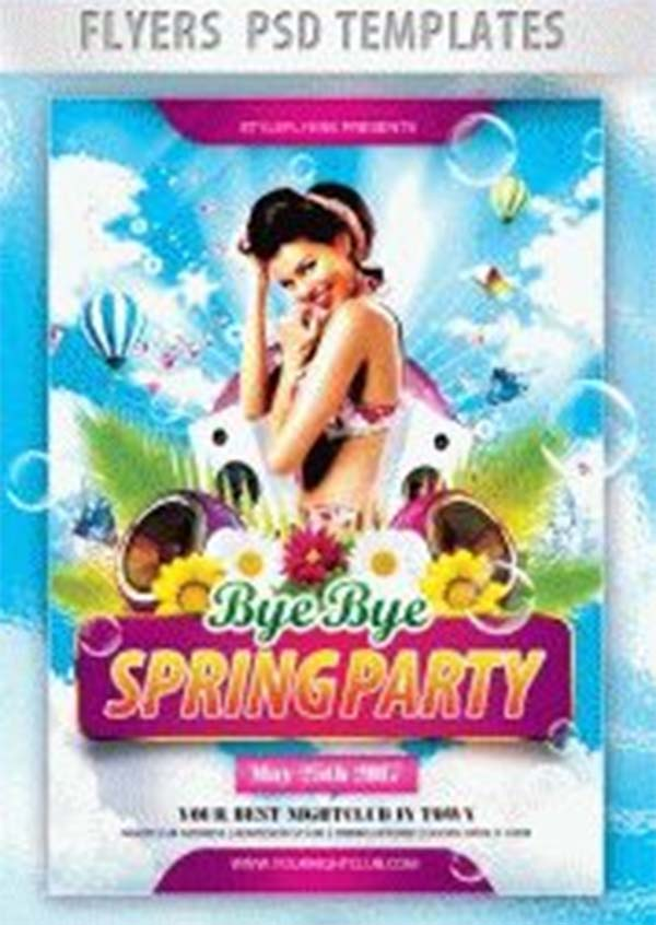 Bye Bye Spring Free PSD Party Flyer