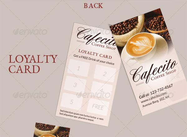 Cafecito Coffee Shop Loyalty Card Template