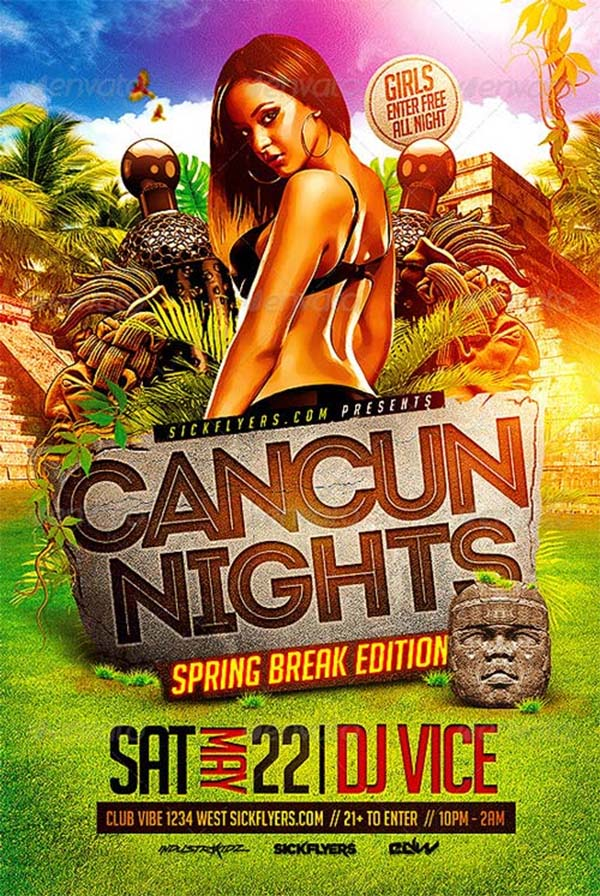 Cancun Spring Break Party Flyer PSD Template