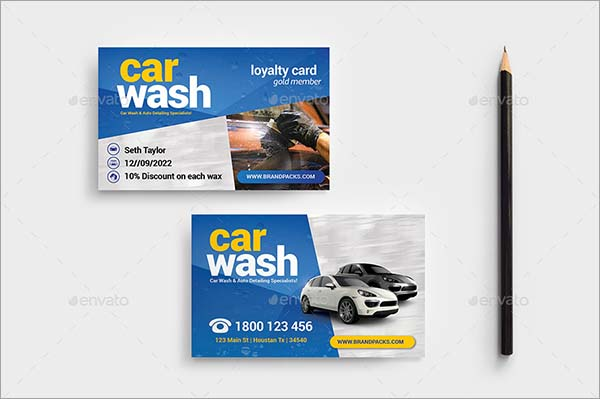 Car Wash Business Loyalty Card Template
