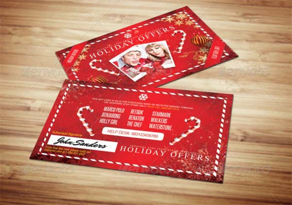 Christmas Holidays Gift Loyalty Card Template