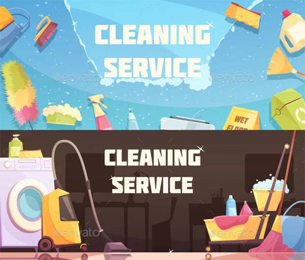 Cleaning Service Horizontal Vector Banners