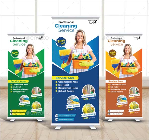 Cleaning Service Roll Up Vector Banner
