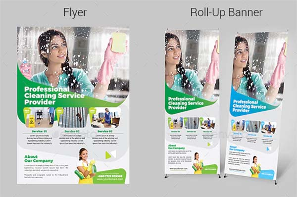 Cleaning Services Flyer & Roll-Up Banner