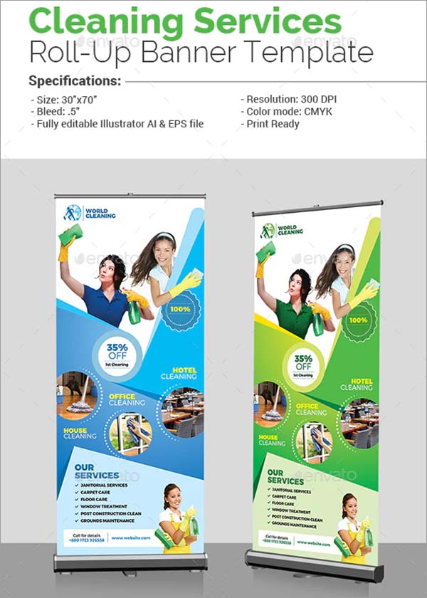 Cleaning Services Roll-Up Vector EPS, AI Illustrator Banner