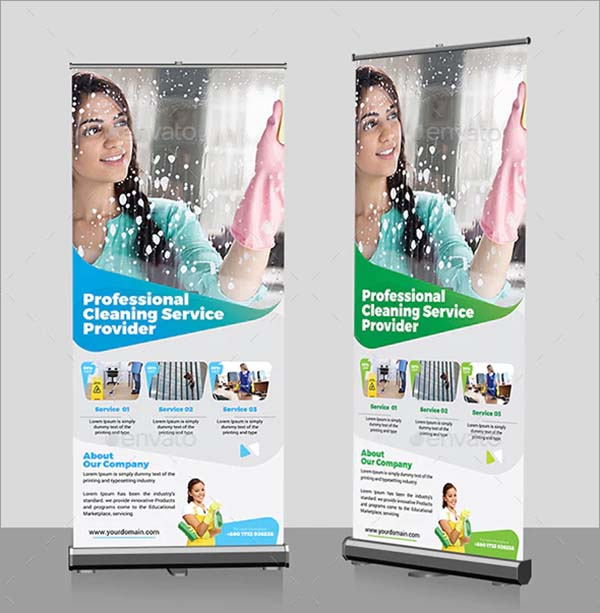 Cleaning Services RollUp PSD Banner