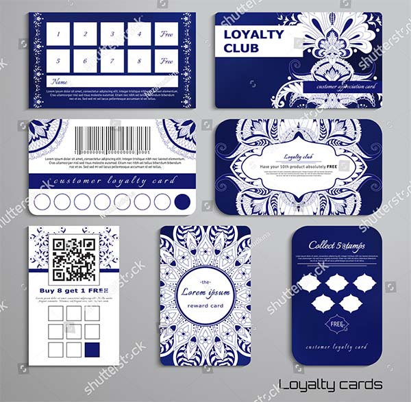 Damask Oriental Pattern Loyalty Cards Template