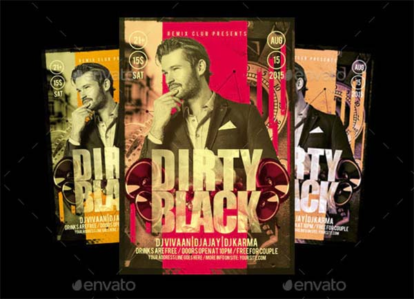 Dirty Black Party Flyer Template