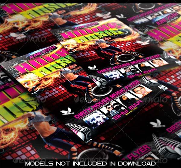 Dirty House Music Flyer PSD Template