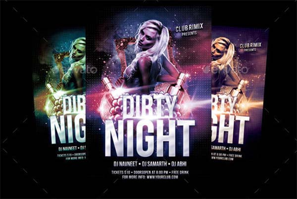 Dirty Night Party Flyer PSD Design