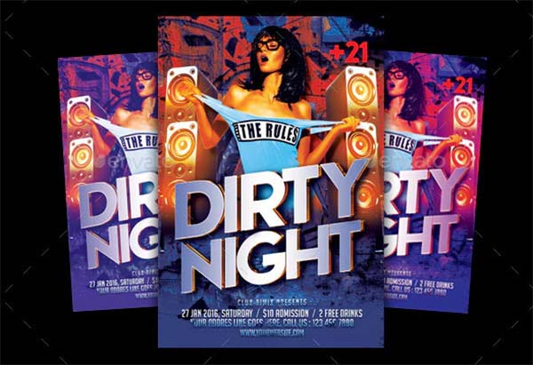 Dirty Night Party Flyer Template