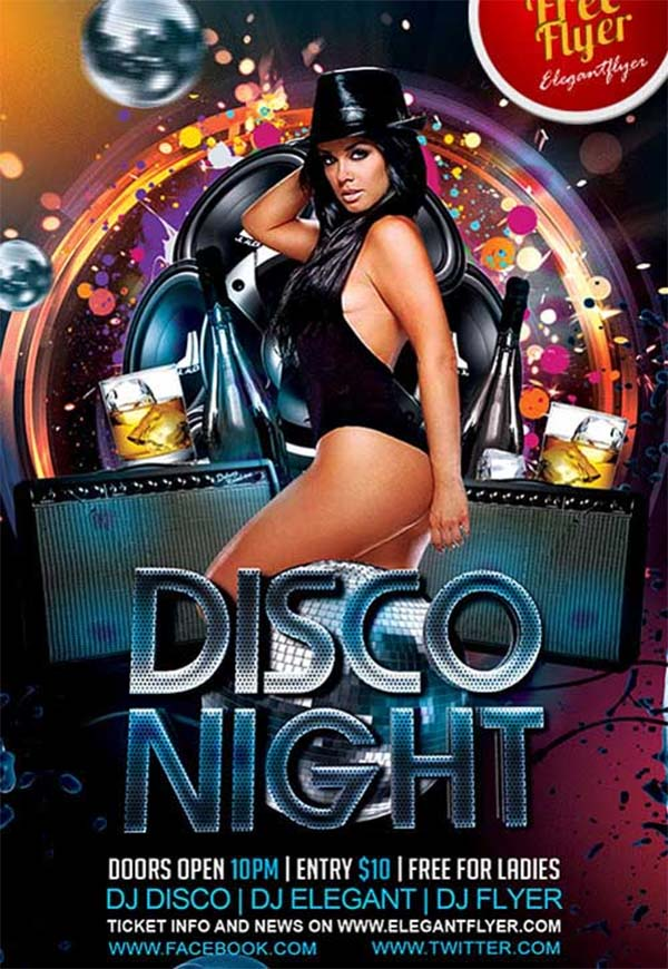 Disco Night Free PSD Flyer Template