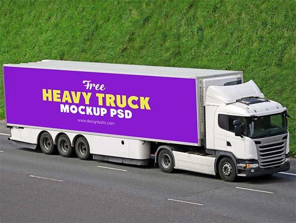 Free Heavy Load Transport Cargo Truck PSD Mockup