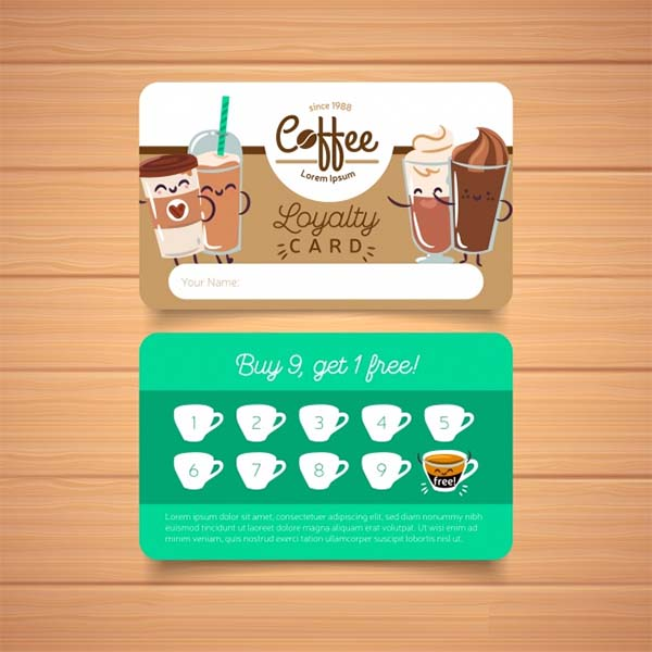 Free PSD Coffee Shop Loyalty Card Template