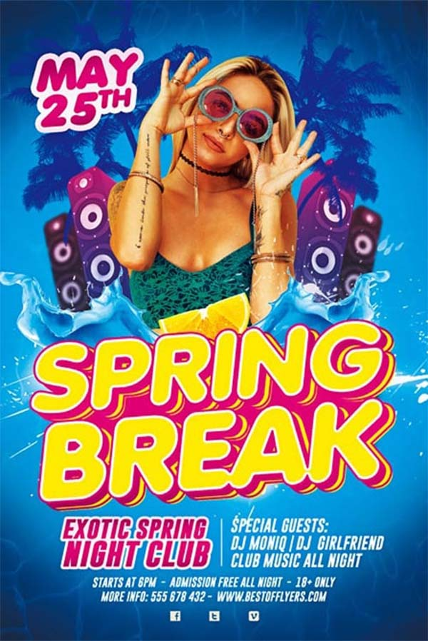 Free Spring Break Party Flyer Template