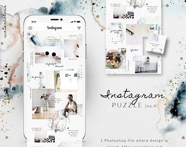 Free Watercolor Instagram Puzzle Template