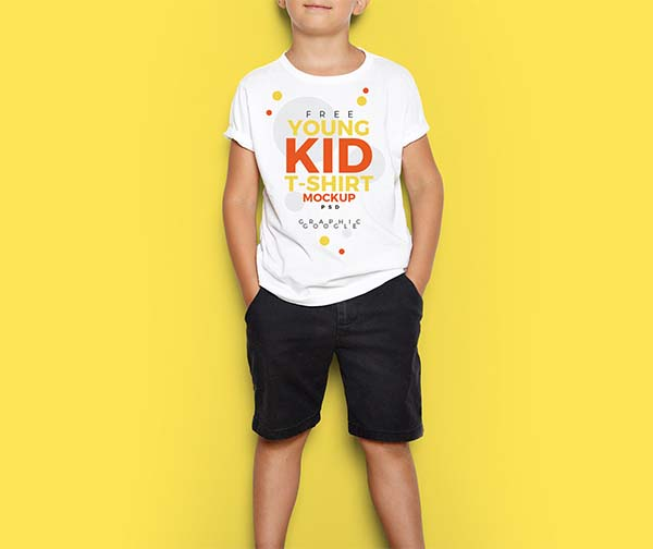 Free Young Kid T-Shirt Mock-Up PSD