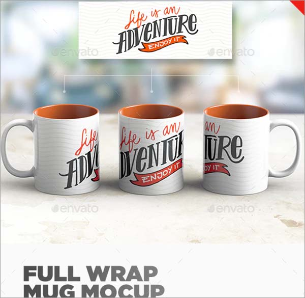 Full Wrap Mug PSD Mockup