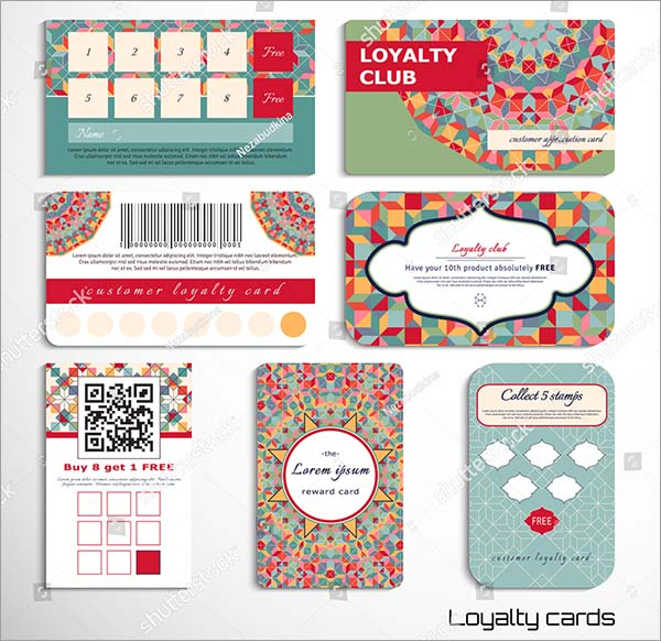 Geometric Pattern Loyalty Cards Template