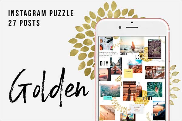 Golden Instagram Puzzle Template