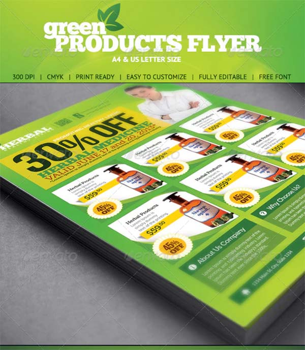 Green Product PSD Flyer Template