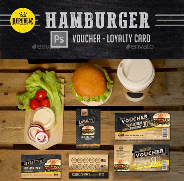 Hamburger Voucher Loyalty Card Template
